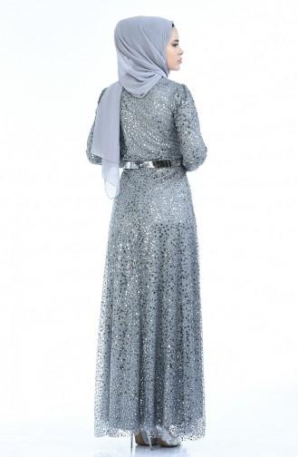 Abendkleid mit Gürtel 3805-04 Grau 3805-04