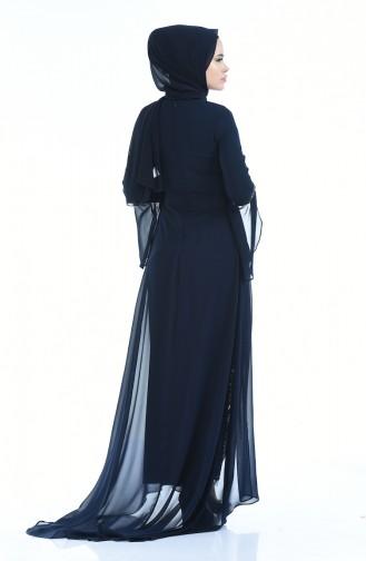 فساتين سهرة بتصميم اسلامي أزرق كحلي 8014-03
