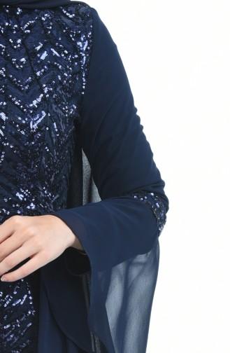 Dunkelblau Hijab-Abendkleider 8014-03