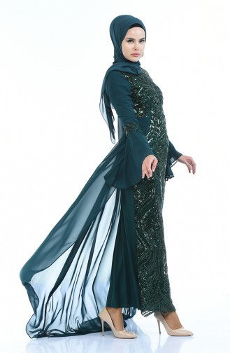 Habillé Hijab Vert emeraude 8014-04