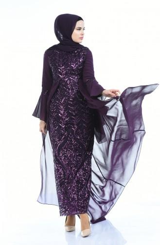 Payetli Abiye Elbise 8014-05 Mor
