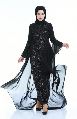 Payetli Abiye Elbise 8014-06 Siyah
