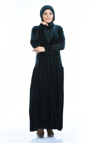 فستان أخضر زمردي 7965-01