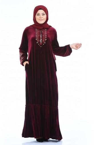 Büyük Beden Nakışlı Kadife Elbise 7968-02 Bordo