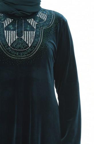 Smaragdgrün Hijap Kleider 7969-02