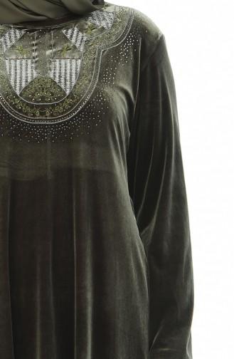 Khaki Hijap Kleider 7969-04