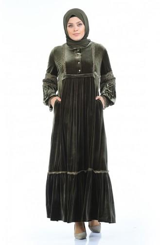Büyük Beden Taş Baskılı Kadife Elbise 7988-02 Haki