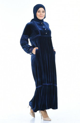Büyük Beden Taş Baskılı Kadife Elbise 7988-05 Lacivert