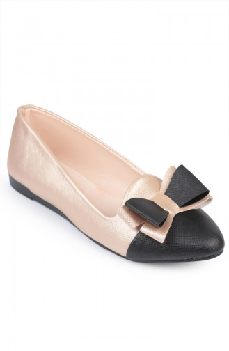 Black Pink Flat Shoes For Women 6618-8