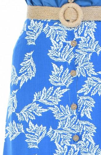 Gemusterter Viskose Rock 5319F-01 Dunkel Blau 5319F-01