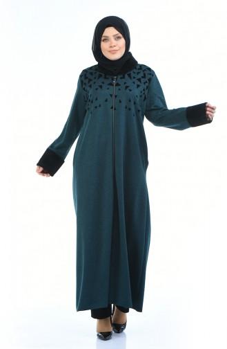 Abaya a Fourrure Grande Taille 7980-01 Vert emeraude 7980-01