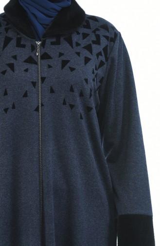 Abaya a Fourrure Grande Taille 7980-02 Bleu Marine 7980-02