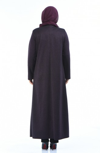 Abaya avec Poches Grande Taille 7992-02 Pourpre 7992-02