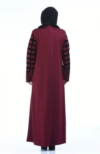 Abaya Perlées Grande Taille 7993-04 Bordeaux 7993-04