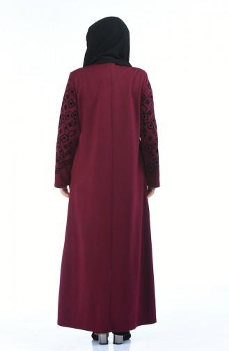 Abaya Perlées Grande Taille 7994-03 Plum 7994-03