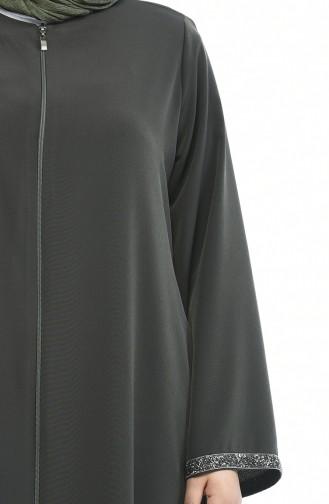 Khaki Large Zipper Abaya 0088-01