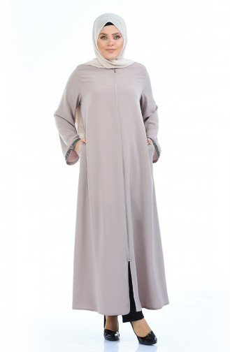 Brown Large Zipper Abaya 0088-02