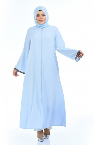 Abaya a Fermeture Grande Taille 0088-04 Bleu Bébé 0088-04