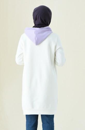 Garnili Uzun Sweatshirt 0712-02 Ekru Lila