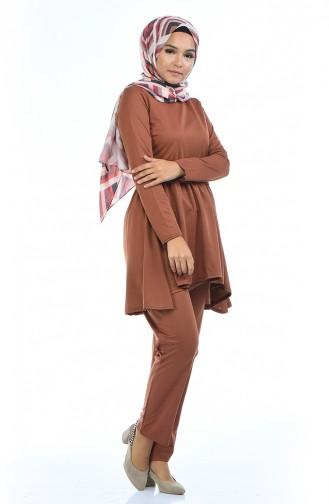 Tunik Pantolon İkili Takım 2253-03 Taba