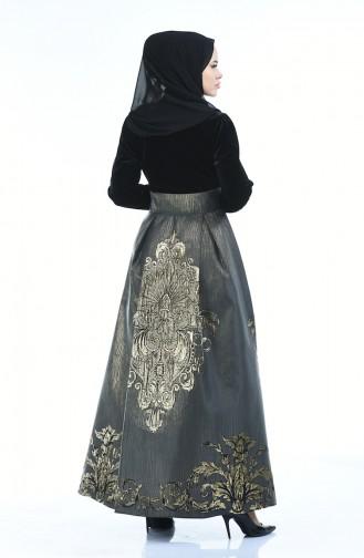 Jakarlı Abiye Elbise 24574-01 Siyah Antrasit