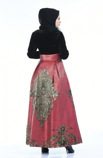 Jacquard Perlen Abendkleid  24574-02 Schwarz Weinrot 24574-02