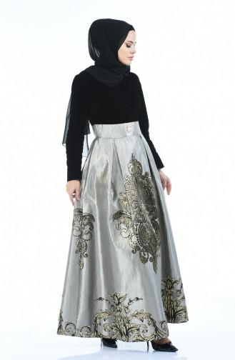 Jacquard Perlen Abendkleid  24574-03 Schwarz Grau 24574-03