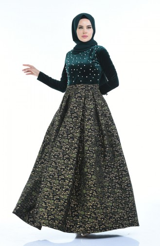 Jacquard Perlen Abendkleid 24614-01 Smaragdgrün 24614-01