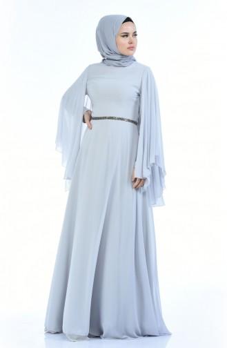 فساتين سهرة بتصميم اسلامي رمادي 1501-02
