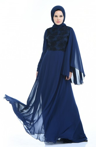 Navy Blue Islamic Clothing Evening Dress 2001-01