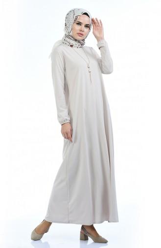 Beige İslamitische Jurk 5256-07