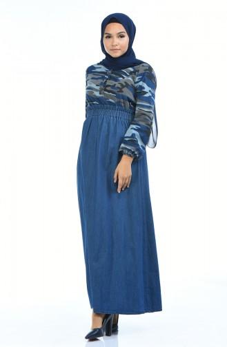 Jeans Kleid mit Gummi 4076B-01 Dunkelblau 4076B-01