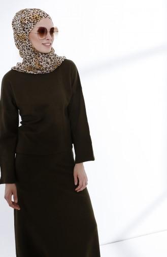 Etek Bluz Triko Takım 3101-04 Haki