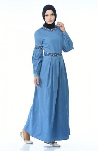 Plissee Jeans Kleid 062-01 Jeans Blau 4062-01