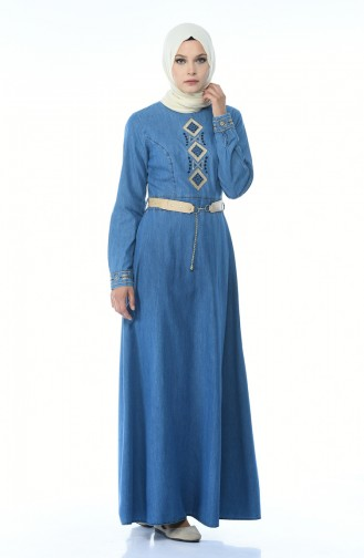Robe Jean a Ceinture 4075-01 Bleu Jean 4075-01