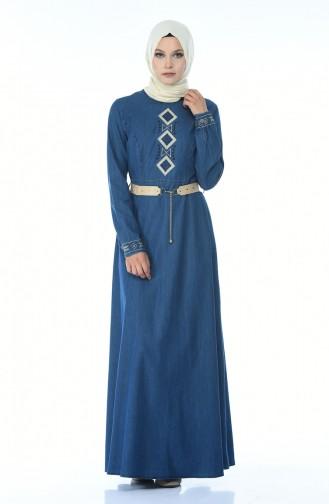 Robe Jean a Ceinture 4075-02 Bleu Marine 4075-02