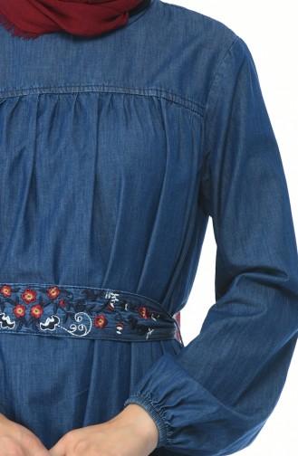 Stickerei-detailliertes Jeans Kleid 4073-01 Dunkelblau 4073-01