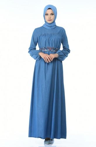 Nakış Detaylı Kot Elbise 4073-02 Kot Mavi