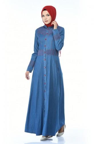 Geknöpftes Jeans Kleid 5184-02 Jeans Blau 5184-02