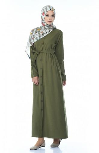 Summer Dress with Buttons Khaki 6010A-03