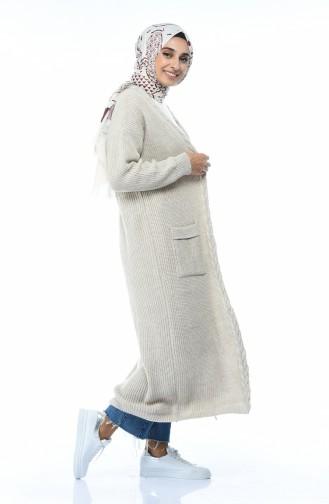 Triko Örgü Desen Hırka 0935-01 Bej