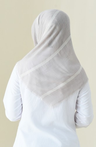 Çizgili Flamlı Cotton Eşarp 2159-23 Taş