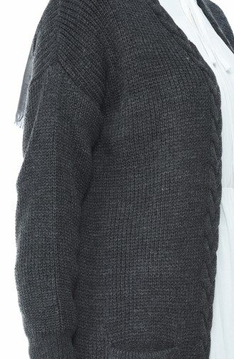 Triko Örgü Desen Hırka 0935-06 Füme