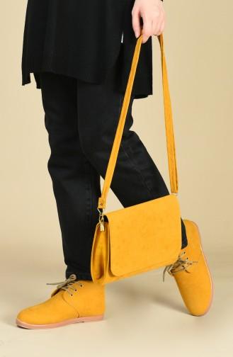 Wildleder Stiefel-Tasche Set SET-CNT-BOT042 Senf Wildleder 042