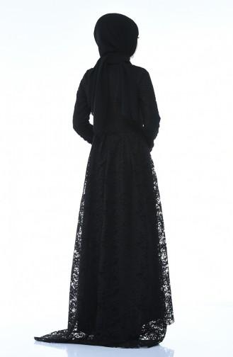Dantel Kaplama Abiye Elbise 5033-01 Siyah