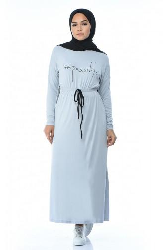 Bedrucktes Viskose Kleid 0015-03 Grau 0015-03