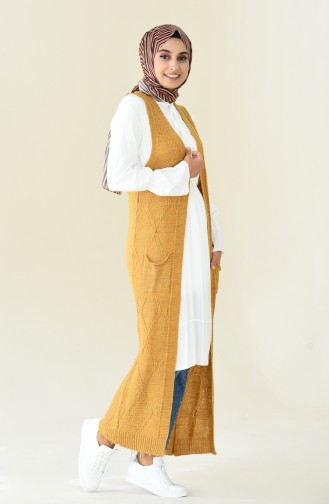 Long Vest Tricot Mustared color 8116-01