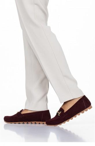 حذاء مسطح أحمر كلاريت 2032-08