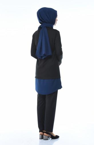 Garnili Tunik Pantolon İkili Takım 9090-02 İndigo