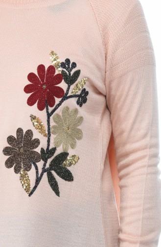 Trikot Tunika mit Blumen 1346-02 Puder 1346-02